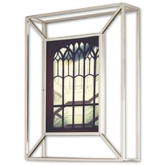 This metal wire frame hold one 5x7 inches photograph. Can either be displayed on a desk or mounted on a wall using the included mounting hardware.