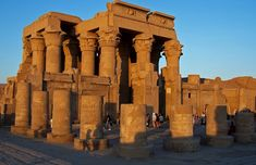 Kom Ombo, Egypt. The temple at Kom Ombo is about 30 miles (48 km) north of Aswan and was built during the Graeco-Roman period (332 BC AD 395). The temple is unique because it is in fact a double temple, dedicated to Sobek the crocodile god, and Horus the falcon-headed god.
