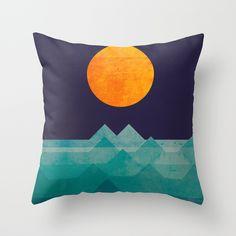 The+ocean,+the+sea,+the+wave+-+night+scene+Throw+Pillow+by+Budi+Kwan+-+$20.00