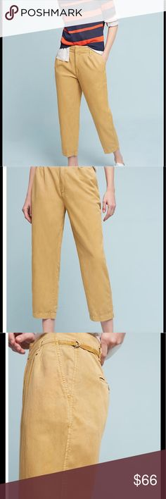 """🆕Hei Hei Pleated Notch-Back Pants Gold Pleated Notch Pants. Lyocell, cotton, linen Front slant, back welt pockets Front zip Machine wash Regular: 12.75"""" rise 22.25"""" inseam No Trades/No PayPal, 10% Bundle Discount Anthropologie Pants"""