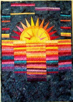 Art quilt, wall hanging, contemporary fiber art- Sunrise on a Lake. $125.00, via Etsy.