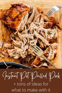 An easy recipe for the best damn Instant Pot Pulled Pork ever! Plus so many ideas for what to do with it! Make tacos, nachos, loaded fries, sliders, grilled cheese, mac and cheese, and more. Learn what cut of meat to buy, how to shred it, and even what sides to serve it with. You won't find a better pulled pork recipe or more tips and tricks than right here! #instantpotpulledpork #pulledporkrecipe #thewickednoodle Vegan Recipes Easy, Pork Recipes, Cooking Recipes, Noodle Recipes, Spicy Coleslaw, Barbecue Pulled Pork, Bbq, Making Pulled Pork, Salsa Barbacoa