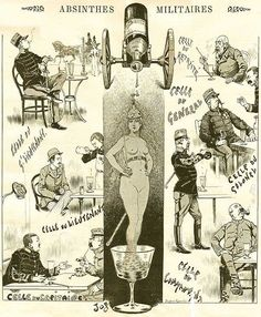Absinthes Militaires 1893 Poster -Absinthe Poster illustrating Absinthe and the French military; Vintage Advertisements, Vintage Ads, Vintage Posters, Absinthe, Mermaid Art, Lettering Design, Art Tutorials, Illustration, Images