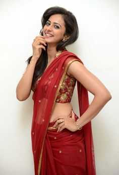 Rakul Preet Singh in Transparent Red Saree