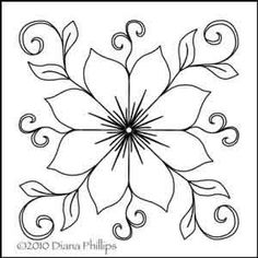 Digital Quilting Design Dianas Star Flower by Diana Phillips. Flower Art Drawing, Flower Sketches, Hand Embroidery Patterns, Embroidery Stitches, Art Patterns, Flower Embroidery, Embroidered Flowers, Quilting Stencils, Quilting Designs