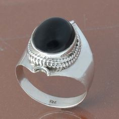 925 SOLID STERLING SILVER BLACK ONYX RING 4.49g DJR6828 #Handmade #Ring