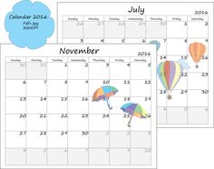 Printable Calendar 2016 with clip art images 2016, Ready to print calendar, Calendar 2015, Planner,Blank calendar, Instant download calendar - pinned by pin4etsy.com