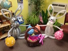 Easter with balloon bunnies and a egg basket ;)