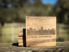 San Antonio Texas Skyline Silhouette Reclaimed Pallet Wood Coasters / rustic gift / Rustic Coaster set/home decor by RedWolfRustics on Etsy https://www.etsy.com/listing/504068462/san-antonio-texas-skyline-silhouette