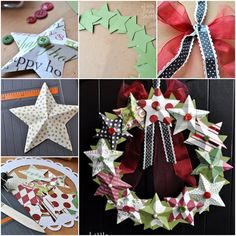 DIY Tutorial DIY Christmas Paper Decorations / DIY last minute christmas decorations: paper star wreath - Bead&Cord Christmas Wreath Image, Christmas Reef, Christmas Wreaths To Make, Simple Christmas, Christmas Crafts, Christmas Ornaments, Christmas Ideas, Christmas Music, Holiday Wreaths