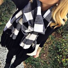 All black with a checkered B&W scarf