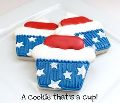 American Flag Cookie Cups with a step by step tutorial ♥