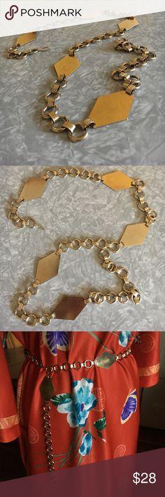 Gold Vintage Diamond Chain Belt Super cute gold chain link vintage 20's belt with diamond Art Deco features. Adjustable. Accessories Belts