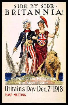 Items similar to Britain's Day Britannia & Uncle Sam WWI Vintage Art Print - Digitally Remastered Fine Art Print / Poster on Etsy Us History, American History, British American, British History, British Humor, Ancient History, Native American, Vintage Ads, Vintage Posters