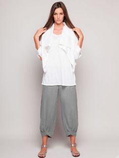 Stella-Carakasi-grey-tencel-lagenlook-cropped-ankle-flood-pants-L-NWT-178