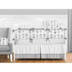 Shop for Sweet Jojo Designs Grey and White Mod Arrow Collection Crib Bedding Set. Get free delivery On EVERYTHING* Overstock - Your Online Baby Bedding Shop! White Crib Bedding, Chevron Bedding, Baby Crib Bedding Sets, Crib Sets, Bedding Shop, Pottery Barn Teen Bedding, Black Bed Linen, Luxury Bedding Sets, Bedding Collections