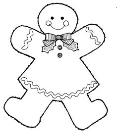 gingerbread man coloring page | This black and white image, Gingerbread Girl, was donated by the ...