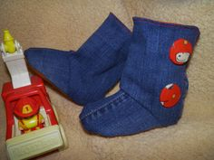Baby Toddler Upcycled Jean Booties Leather by SewlFulStitches, $25.00