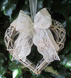 Wicker Heart Wreath With a handmade ribbon and lace bow with a pearl and diamante centre and a chiffon ribbon tie Approx Floral Wedding, Wedding Flowers, Chic Wedding, Church Pew Decorations, Table Decorations, Valentine Wreath, Valentine Box, Valentine Ideas, Valentine Crafts