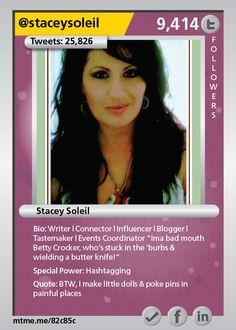 "Writer | Connector | Influencer | Blogger | Tastemaker | Events Coordinator ""Ima bad mouth Betty Crocker, who's stuck in the 'burbs & wielding a butter knife!"""