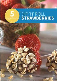33f073c791ef Rice Krispies Dip  n  Roll Strawberries -- Chocolate-covered strawberries  are coated