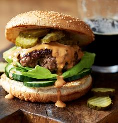 For all Guinness-loving dads out there, it doesn't get much more delicious than these burgers. Adding stout to a beef-burger mix gives a deeper flavour, plus it helps to bind the ingredients together.   Tesco