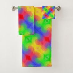 Rainbow Swirls Abstract Design Bath Towels - red gifts color style cyo diy personalize unique