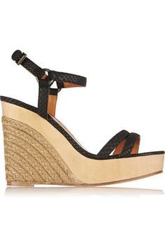 Snake-effect leather wedge espadrilles #wedges #offduty #women #covetme #lanvin