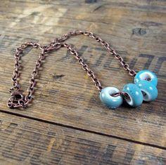 Blue Sky Necklace  turquoise / blue porcelain  by MySoulCanDance, $16.00