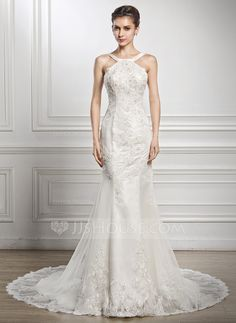 Trumpet/Mermaid Scoop Neck Chapel Train Satin Tulle Lace Wedding Dress With Beading Sequins (002056962) - JJsHouse