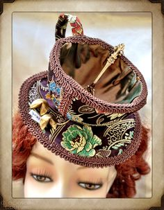 Chocolate Fortune Tea Cup Hat - Hats - Accessories Steampunk Crafts, Steampunk Clothing, Tea Hats, Red Hat Society, Circlet, Alice In Wonderland, Captain Hat, Neo Victorian, Costumes