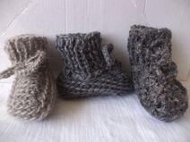 Babyschuhe 50/56 Schurwolle naturbelassene Wolle