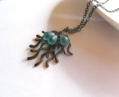Copper wire sculpture pendant artistic turquoise by ArtemisFantasy