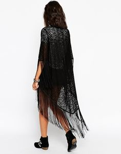 Enlarge Lira Longline Lace Kimono With Tassel Detail