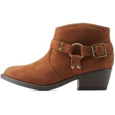 Charlotte Russe Cognac Harnessed Low Profile Ankle Booties by Soda at... ($43) ❤ liked on Polyvore featuring shoes, boots, ankle booties, cognac, chunky booties, cowboy boots, chunky boots, harness boots and zipper cowboy boots