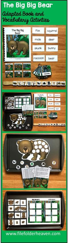 "This  Adapted Book ""The Big Big Bear"" teaches forest animals themed vocabulary words through simple rhyme and interactive matching pieces. It focuses on simple identification, sequencing skills, story comprehension and -wh questions.  It also goes well with any Forest or Camping theme.  This download includes 1 adapted (interactive) book, 1 sequencing stick activity, 1 sorting/classification activity, 1 making inferences activity, and 1 set of vocabulary labeling cards."
