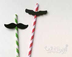 6 Mario & Luigi Mustache Straws by whirligigspartyco on Etsy, $6.00