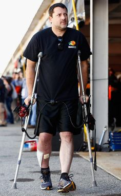 Tony Stewart at Charlotte(I think, he said he was there... he had surgery for an infection in his leg last week)
