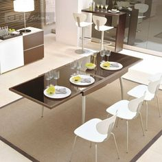 Dining Tables Calligaris Enterprise Glass VQ Extendable Dining Table