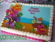 Hawaiian Theme Hawaiian style design for a birthday. sheet iced in creamcheese icing with MMF flowers and tropical drink. Luau Cakes, Beach Cakes, Party Cakes, Hawaiian Birthday Cakes, Birthday Sheet Cakes, Cake Birthday, Pastel Rectangular, Sheet Cake Designs, Luau Theme