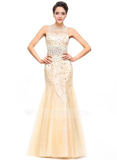 Trumpet Mermaid Scoop Neck Floor-Length Tulle Lace Prom Dresses With Beading  Sequins (018051170) 17bd425b4aa7