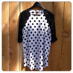 """Polka dots with gold studs on the sleeves. 31"""" from shoulder to hem (from size small)"""