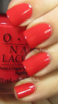 OPI - Red Lights Ahead...Where? - this red coral with a touch of orange is a great spring/summer color!