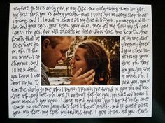 Picture of you and your husband from your wedding with the lyrics from your first dance written on the matte