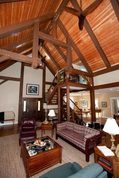 Great room of a custom douglas fir timber frame.