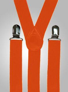 the men in the wedding will wear orange suspenders