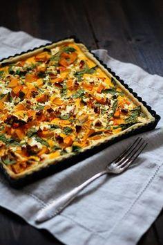 Rezept für Kürbistarte mit Feta und Spinat