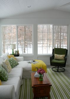 The View from My Sunroom on a Snowy Winter Day  Sunroom DecoratingSunroom  IdeasPorch  mit einem goldenen Kandelaber sehen sie nicht so nach meiner  . Sunroom Decor Ideas. Home Design Ideas
