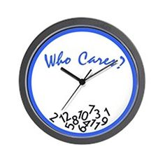 CafePress  Who Cares Wall Clock Blue  White  Unique Decorative 10 Wall Clock ** Find out more about the great product at the image link.
