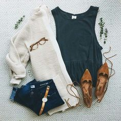 Cute outfit, the corrugated cardigan is new, but would like in a darker color. No whites or cream